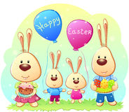 Conejos de Pascua de la familia Foto de archivo
