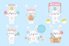 Conejos de Pascua y huevos de Pascua stock de ilustración