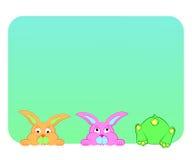 Conejos divertidos en un fondo azul Fotografía de archivo libre de regalías