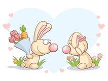 Conejos el el día de tarjeta del día de San Valentín Foto de archivo libre de regalías