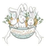 Conejos en cesta azul fotos de archivo libres de regalías