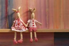 Conejos en día de tarjetas del día de San Valentín de la invitación de la boda del amor Fotos de archivo libres de regalías