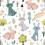 Conejos en el modelo inconsútil lindo de maderas libre illustration