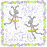 Conejos felices de Pascua con los huevos de Pascua stock de ilustración