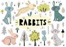Conejos lindos, árboles, plantas y otros elementos exhaustos de la mano libre illustration