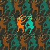 Conejos lindos del baile en estilo de la historieta Ilustración del vector Fotografía de archivo libre de regalías
