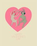 Conejos lindos del baile en estilo de la historieta Tarjeta feliz del día de tarjetas del día de San Valentín Ilustración del vec Foto de archivo