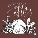 Conejos lindos, ejemplo del drenaje de la mano con el deletreado Pascua frase-feliz Diseño de carácter del sistema del ejemplo de libre illustration