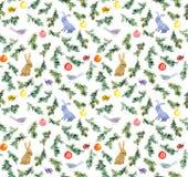 Conejos lindos, pájaros, árbol de navidad, chucherías Modelo inconsútil watercolor ilustración del vector