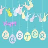 Conejos que golpean el colgante de la bandera y de los huevos stock de ilustración