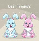 Conejos sonrientes - mejores amigos, muchacho y muchacha, conejitos felices Imagen de archivo