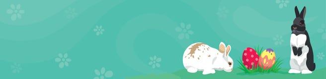 Conejos y huevos de Pascua del jefe de la bandera del web de la plantilla de Pascua ilustración del vector