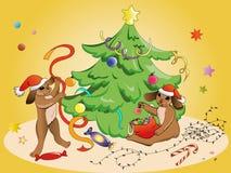 Conejos y la Navidad Foto de archivo libre de regalías