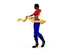 conept de la flecha del gráfico de la mujer 3d Imagen de archivo