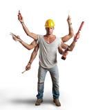 Conept multitâche d'ouvrier Image libre de droits