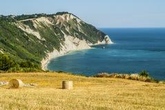 Conero - Cultivated coast. Conero (Ancona, Marches, Italy) - Cultivated coast: wheat field with bales over the Adriatico sea royalty free stock photography