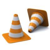 Cones 3d do tráfego ilustração do vetor