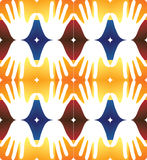 Ícones abstratos da mão no quadrados coloridos - fundo sem emenda Fotografia de Stock