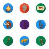 Ícones ajustados da Idade da Pedra no estilo liso Coleção grande do símbolo do vetor da Idade da Pedra Foto de Stock Royalty Free