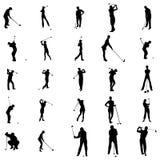 Ícones ajustados da silhueta do jogador de golfe, estilo simples Fotografia de Stock Royalty Free