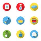 Ícones ajustados de limpeza no estilo liso Coleção grande da ilustração do estoque do símbolo do vetor da limpeza Fotos de Stock Royalty Free