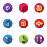 Ícones ajustados do apiário no estilo liso Coleção grande da ilustração do estoque do símbolo do vetor do apiário Fotos de Stock Royalty Free