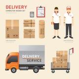 Ícones ajustados do caráter do trabalho de serviço do transporte da entrega dos povos do vetor Foto de Stock Royalty Free