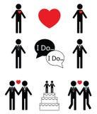 Ícones ajustados do ícone t do casamento do homem gay Foto de Stock