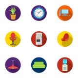 Ícones ajustados do mobiliário de escritório e do interior no estilo liso Coleção grande do mobiliário de escritório Fotos de Stock Royalty Free