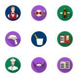 Ícones ajustados do restaurante no estilo liso Coleção grande do símbolo do vetor do restaurante Fotos de Stock Royalty Free