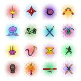 Ícones ajustados, estilo da arma de Ninja da banda desenhada Foto de Stock Royalty Free