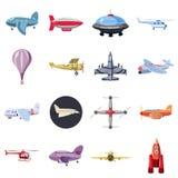 Ícones ajustados, estilo da aviação dos desenhos animados Foto de Stock Royalty Free