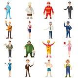 Ícones ajustados, estilo das profissões dos desenhos animados Imagens de Stock Royalty Free