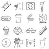 Ícones ajustados, estilo dos artigos do filme do esboço Fotos de Stock