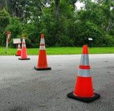 Cones alaranjados do plástico do tráfego Imagens de Stock