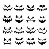 Ícones assustadores das caras da abóbora de Dia das Bruxas ajustados Foto de Stock Royalty Free
