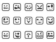 Ícones assustadores quadrados da cara ajustados Fotografia de Stock