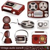 Ícones audio 3 do vintage Fotos de Stock