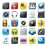 Ícones audio Fotografia de Stock Royalty Free