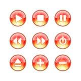 Ícones audio do incêndio do Web site de vidro Fotos de Stock Royalty Free