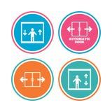 Ícones automáticos da porta Símbolos do elevador Imagens de Stock Royalty Free