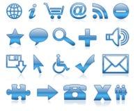 Ícones azuis Fotos de Stock