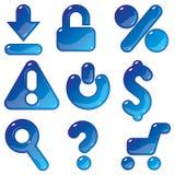 Ícones azuis comerciais do gel Fotografia de Stock
