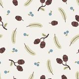 Cones, berries and pine branches, Seasonal autumn seamless pattern. Vector illustration vector illustration