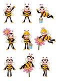 Ícones bonitos da abelha ajustados Fotografia de Stock Royalty Free