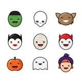 Ícones bonitos de Kawaii Dia das Bruxas ajustados Monstro engraçado Fotografia de Stock