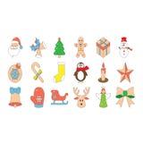 Ícones bonitos do Natal Imagem de Stock Royalty Free