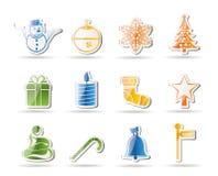 Ícones bonitos do Natal e do inverno Fotografia de Stock