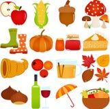 Ícones bonitos do vetor: Tema do outono/queda Fotografia de Stock Royalty Free