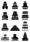 Ícones chineses antigos das construções ajustados Fotos de Stock Royalty Free